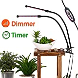 [2018] Grow Light for Indoor Plants - Dual Head LED with Timer for 3, 6 and 12 Hours, Adjustable 360 Degree Gooseneck Grow Lamp, 4 Dimmable Levels for Indoor Plants Gardening -by RealLife Technology
