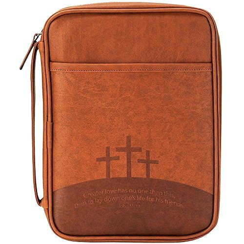 Three Crosses Brown Leather Like Vinyl Bible Cover Case with Handle, Large ()