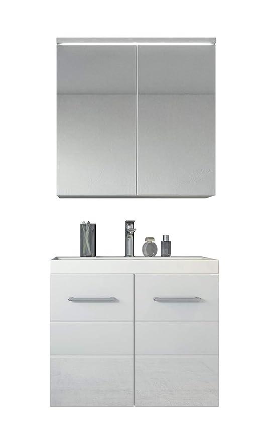 Badezimmer Badmobel Toledo 02 60 Cm Waschbecken Hochglanz Weiss