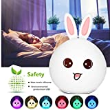 Baby Night Light, Chickwin Rabbit Silicone LED Night Light USB Rechargeable Sensitive Tap Control Bedroom Light With Warm White Can Pinch The Silicone Rabbit Multicolor Touch Nightlight (Red Rabbit)