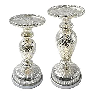 Dolucky Illuminated Mercury Glass Pedestal Pillar Candle Holder Set of 2 Silver