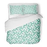 SanChic Duvet Cover Set Three Modern Arabian Mosaic Inspired Geometric Pattern Arabesque Legged Decorative Bedding Set Pillow Sham Twin Size