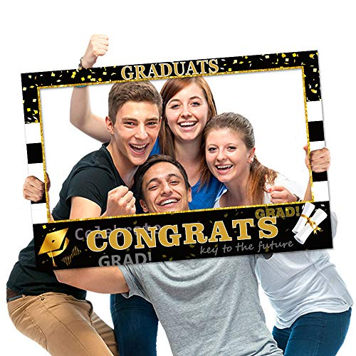Graduation Photo Props Frame Black and Gold Large Size High school College Graduation Selfie Favors Decorations For -