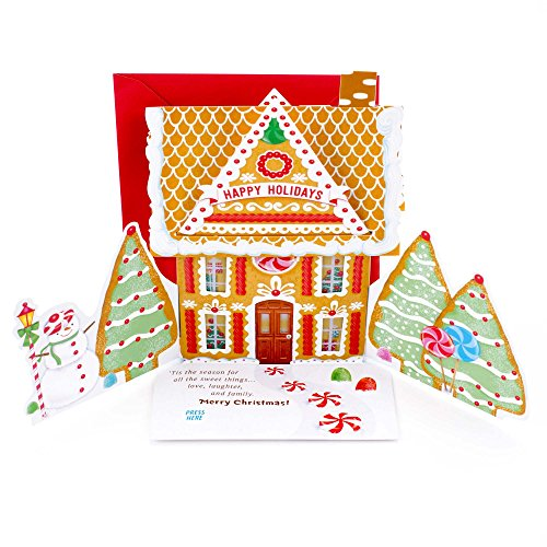 Hallmark Christmas Pop Up Card with Light and Song (Displayable Dimensional Gingerbread House Plays Deck the Halls) (Christmas Song Gingerbread)