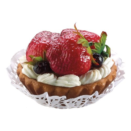 3'' Artificial Strawberry & Blueberry Tart w/Cream -Red/Blue (pack of 18) by SilksAreForever