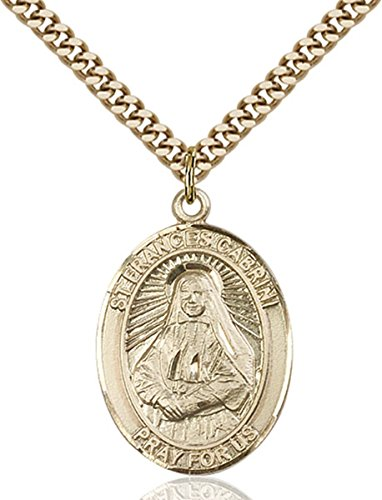 14K Gold Filled Catholic Saint Frances Cabrini Medal, 1 Inch