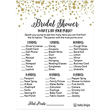 Amazon 25 floral whats in your purse bridal wedding shower or 25 gold whats in your purse bridal wedding shower or bachelorette party game item cards confetti engagement activities idea for couples funny rehearsal junglespirit Gallery