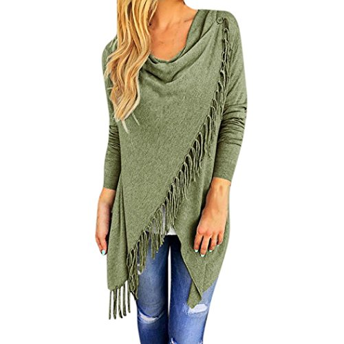 Todaies Women Long Sleeve Blouse Tassel Hem Crew Neck Knited Cardigan Blouse Tops Shirt - Puff Fringe