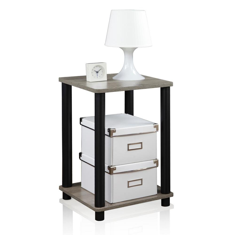 Furinno 99800GYW/BK French Oak Turn-N-Tube End Table, Grey/Black