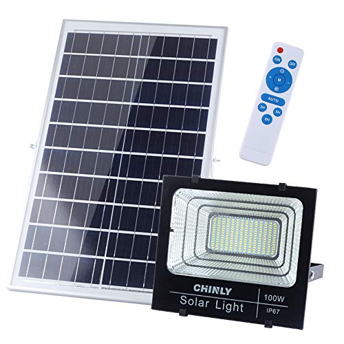 CHINLY 100W Solar Powered Flood Lights, 6500K 196 LED 5000 Lumen Outdoor Street Light Auto-Induction IP67 Waterproof with Upgraded Remote Control Security Lighting for Yard, Garden, Lawn, Pathway