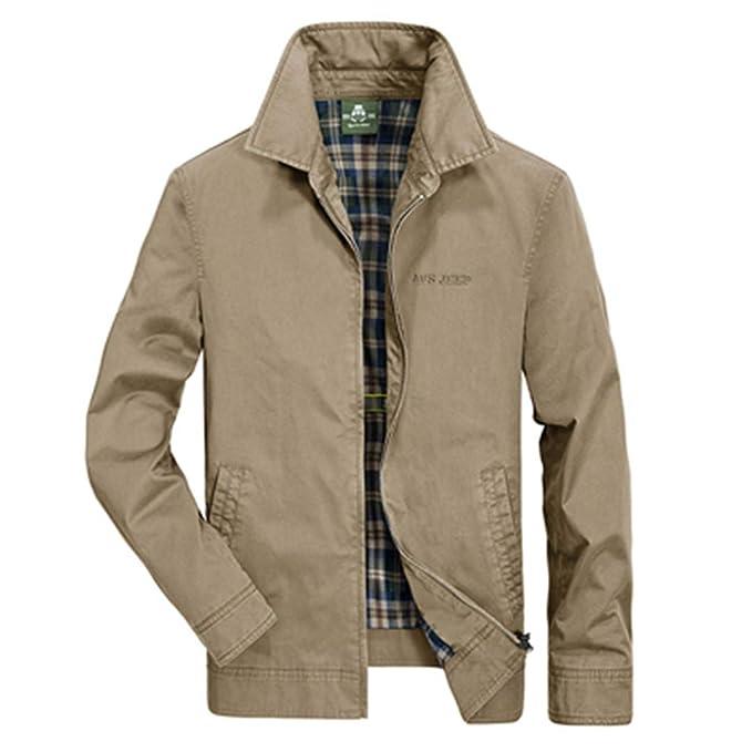Nanshijiake Casual Military Jacket Solid Slim Mens Autumn Jacket Pure Cotton Jacket Coat at Amazon Mens Clothing store: