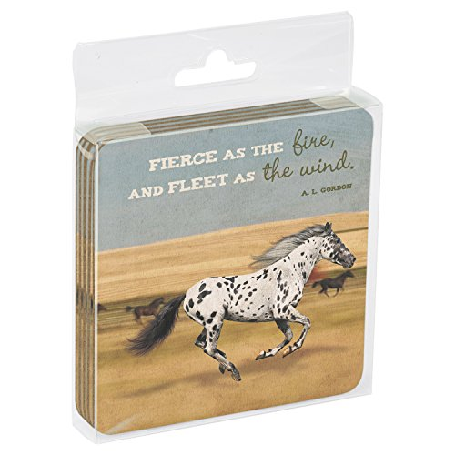 Tree-Free Greetings Set Of 4 Cork-Backed Coasters, 3.75 x 3.75 Inches, Fierce As The Fire Themed Horse Art (16144)