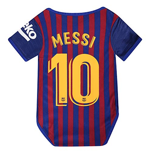 Barcelona Home #10 Messi Baby Cotton Soccer Bodysuits for 9-18 Months Infant OneSize Red (Toddler Barcelona Jersey)