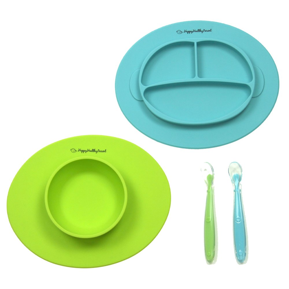 Silicone Bowl and Silicone Plate Easily Wipe Clean! Self Feeding Set Reduces Spills! Spend Less Time Cleaning After Meals with a Baby or Toddler! Set Includes 2 Colors (Pink/Purple) Happy Healthy Parent