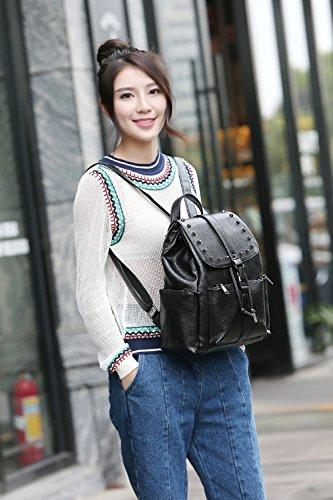 Wewod Mujeres Moda Colegio Mochilas de PU Cuero de Remache Bolsos de Trend Mochilas Niña Bolso Casual Backpack 28 x 31 x 14 cm (L X H x W ) Negro