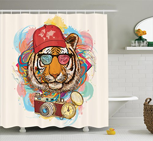 Ambesonne Apartment Decor Shower Curtain Set, Hipster Rapper Style Tiger with Sunglasses Hat and Camera Artist Hippie Animal Comic Print, Bathroom Accessories, 69W X 70L inches, - Curtain Hipster Shower