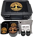 TREE OF LIFE LOCKING STASH BOX COMBO  WHAT YOU GET! Tree of Life 4 piece black titanium grinder, large UV glass, pineapple stash jar, large pineapple rolling tray, smell proof bag, and two combination locks that fit neatly and securely inside the Sme...