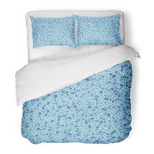 SanChic Duvet Cover Set Blue Barcelona Broken Tiles Mosaic Trencadis Floor Cobblestone Spain Decorative Bedding Set Pillow Sham Twin Size by SanChic