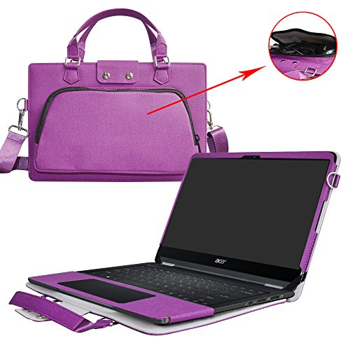 "Spin 7 Case,2 in 1 Accurately Designed Protective PU Leather Cover + Portable Carrying Bag For 14"" Acer Spin 7 SP714-51 series Laptop,Purple"