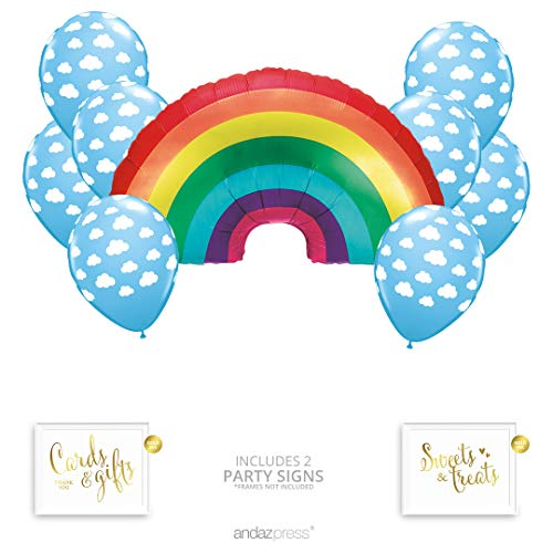 Andaz Press Rainbow Cloud Party Balloon Bouquet Set, Rainbow Baby Shower Party Supplies, Inflatable Foil Mylar Rainbow and Cloud Latex Balloons, Bulk Balloon Kits for Rainbow Birthday Party Decoration]()