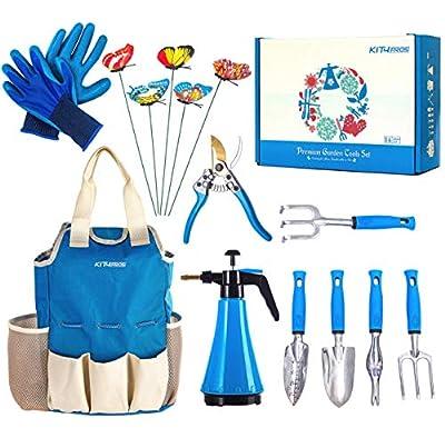 Kit4Pros Garden Tool Set | 14 Piece Heavy Duty Gardening kit with Ergonomic Handle Weeder | Rake | Cultivator | Trowel | Storage Tote Bag Organizer | Pruning Shears and Gardening Gloves