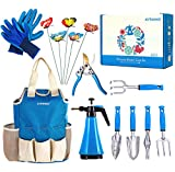 Kit4Pros Garden Tool Set | 14 Piece Heavy Duty Gardening kit with Ergonomic Handle Weeder | Rake | Cultivator | Trowel | Storage Tote Bag Organizer | Pruning Shears and Gardening Gloves (14, Blue)