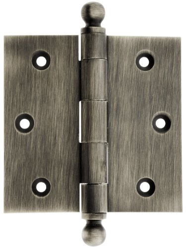 House of Antique Hardware W-04HH-220-AP Solid Brass Door Hinge with Ball Finials, 3 1/2