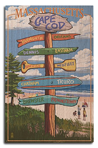 Lantern Press Cape Cod, Massachusetts - Destinations Sign (Version 2) (10x15 Wood Wall Sign, Wall Decor Ready to Hang)
