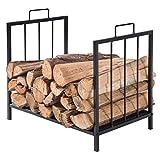 Compact Firewood Rack, Wood Log or Kindling Holder, Metal Fireplace Organizer, Black