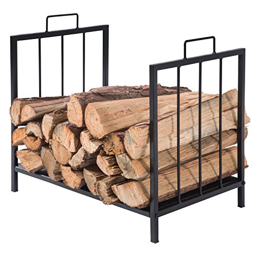 MyGift Compact Firewood Rack, Wood Log or Kindling Holder, Metal Fireplace Organizer, Black (Fireplace Wood Basket)