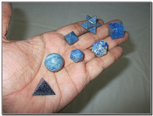 Geometry Fountain - Wow A++ Lapis Lazuli 7 Stones Sacred Geometry Sets Gemstone Platonic Solid Top Grade Quality Merkaba Star w/ Velvet Pouch Attractive