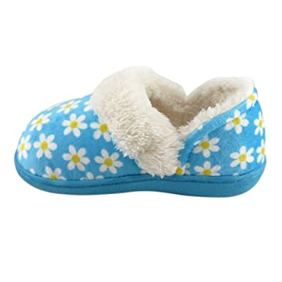 Amazon.com | Toddler Girls Blue Daisy Floral Loafer Style Slippers ...