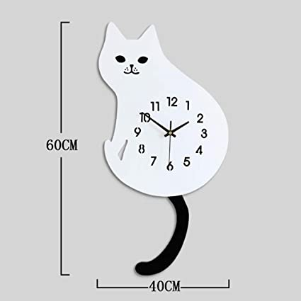 WOOLIY Cartoon Cat Dog Wall Clock/Creative Living Room Clock/Bedroom Mute Clock Decoration