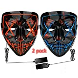 2 Pack Halloween LED Mask Light Up Mask Blue and Red- Scary Frightening EL Wire Cosplay Glowing Mask for Halloween Christmas Festival Party