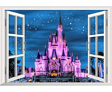 Modern White Window Looking Out Into a Blue Starry Sky and Dream Purple Fantasy Princess Castle Under The Stars - Wall Mural, Removable Sticker, Home (Fantasy Mural)