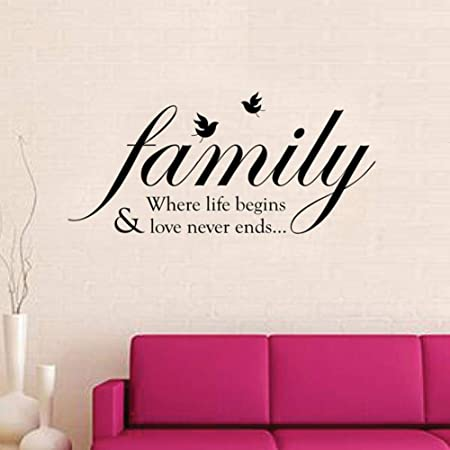 Famille Coeur mots amovible vinyle Decal Art Mural Home Decor Citation Autocollant Mural
