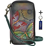 Anna by Anuschka Ladies Wallet & Key Chain (Smart Phone Case RFID Butterfly Paradise)