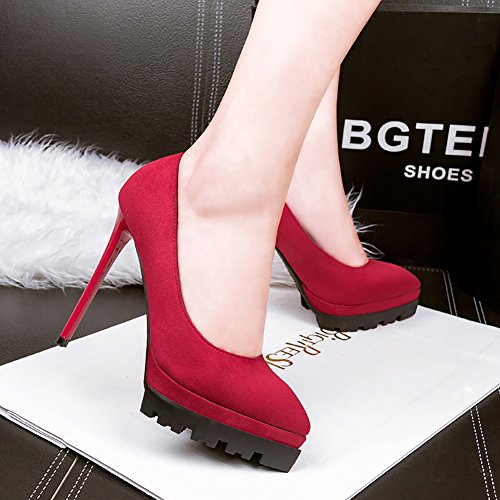 66 toe High Platform Dress Pumps suede Pointed No Heel Shoes Women's Town Red HfOUd
