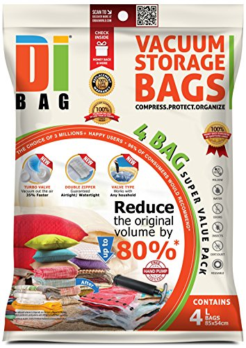 Space Saver Vacuum Storage Bags - 4 Premium Travel Space Bags - Bag Size: Large 85x54 cm - 2X Sealed Compression Plastic Bags For Clothing Storage , Clothes bedding & Packing - DIBAG