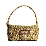 Luerme Flower Basket Rattan Flower Pot Hand Woven Plant Pot Flower Vase Succulent Plant Container Hanging Planter Wall Decor Flower Arrangement Storage Basket (Style C)