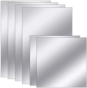 Amazon Com Sntieecr 6 Sheets 2 Sizes Self Adhesive Acrylic Mirror Wall Stickers Flexible Mirror Sheets Non Glass Mirror Tiles For Home Wall Decor 6 X 6 6 X 9 Furniture
