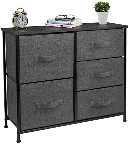 Sorbus Dresser with 5 Drawers – Furniture Storage Tower Unit for Bedroom, Hallway, Closet, Office Organization – Steel Frame, Wood Top, Easy Pull Fabric Bins Black Charcoal