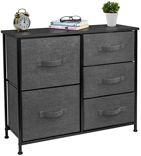 Sorbus Dresser with 5 Drawers - Furniture Storage Tower Unit for Bedroom, Hallway, Closet, Office Organization - Steel Frame, Wood Top, Easy Pull Fabric Bins (Black/Charcoal) (Dressers Furniture Large)