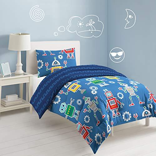 Dream Factory Robots & Bits Comforter Set, Twin, Blue (Robot Duvet Cover Twin)