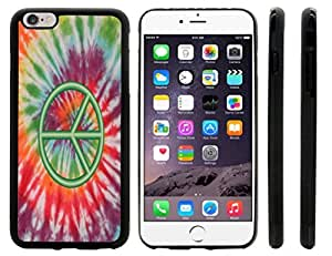 Rikki KnightTM Green Peace Sign on Tie Dye Design iPhone 6 Plus Case Cover (Black Rubber with front bumper protection) for Apple iPhone 6 Plus