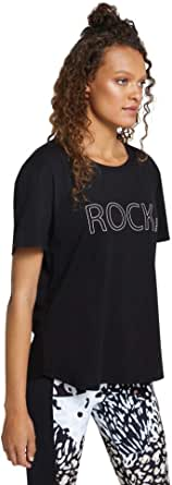 Rockwear Activewear Women's Urban Jungle Logo Front Tee Black 8 from Size 4-18 for T-Shirt Tops