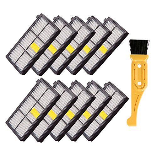 Buti-Life 10 pcs HEPA Filter Replacement for iRobot Roomba 800 900 Series 870 880 980 Vacuum Cleaner& Free fliter cleaning brush tool
