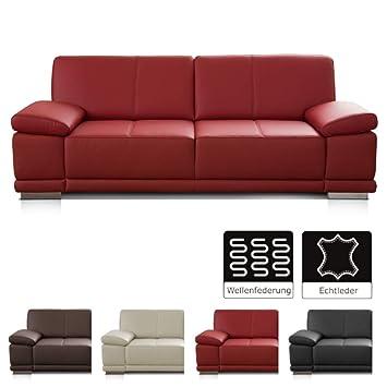 Cavadore 3 5 Sitzer Ledersofa Corianne Grosses Echtleder Sofa Im Modernen Design Mit Verstellbaren Armlehnen 248 X 80 X 99 Echtleder Rot