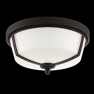 "Eurofase 26636-023 Kate Opal White Glass Round LED Flush Mount Ceiling Light, 2-Light 16 Total Watts, 6""H x 12""Dia, Bronze"