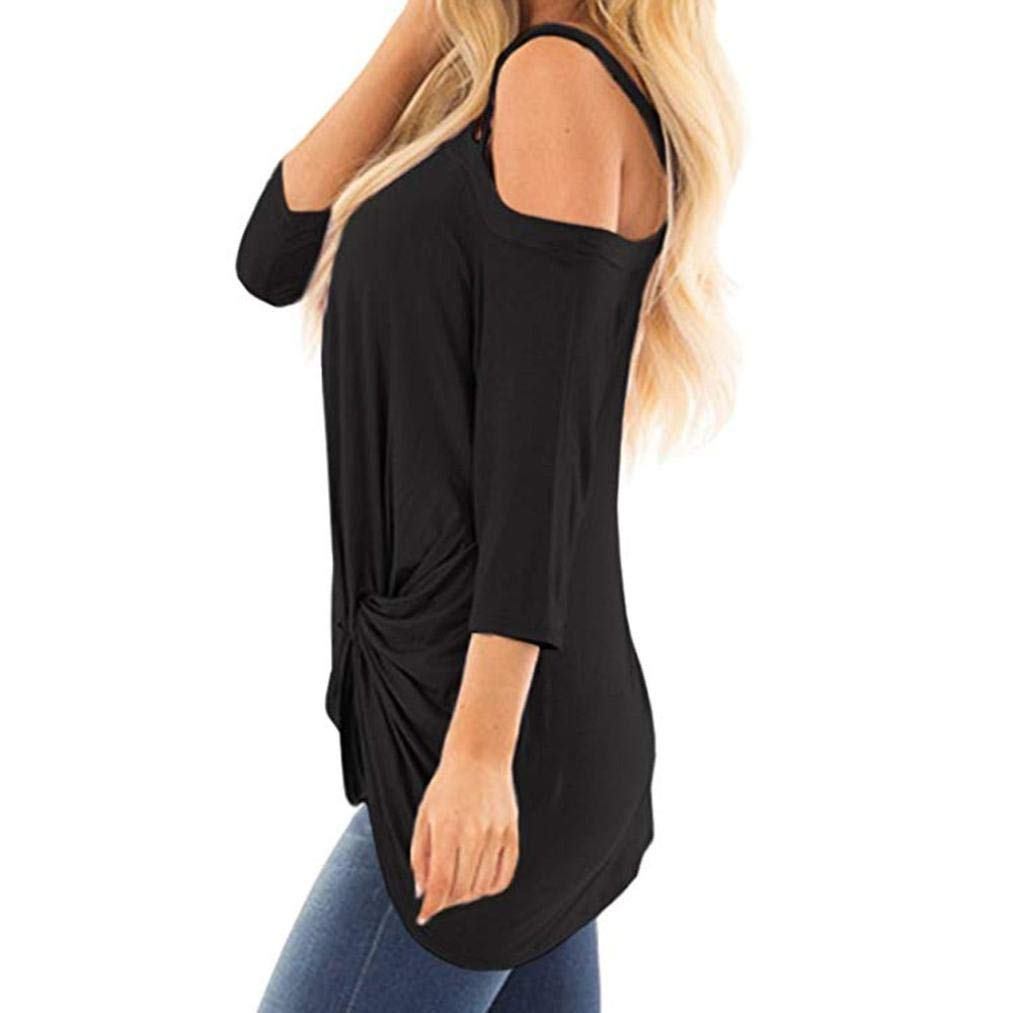 Clearance! Women Oblique Off Shoulder Tee Shirt 3/4 Sleeve Knot Blouse Tunic Top(Black,X-Large) by iQKA (Image #3)